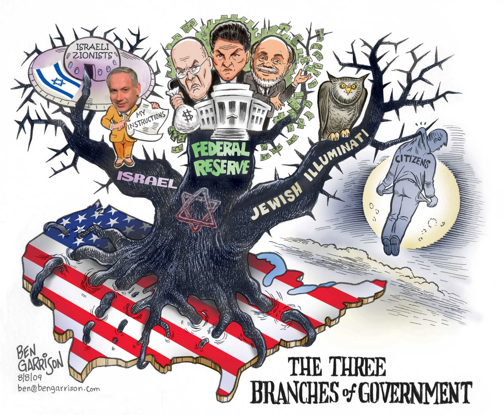 ben garrison jewish dictatorship america three branches of